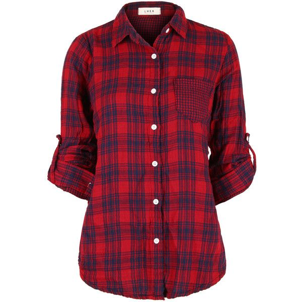 ililily Women's Everyday Tartan Plaid Checkered Flannel 3/4 Roll Up... found on Polyvore