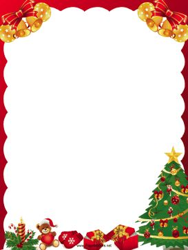 Golden bells, presents and a Christmas tree decorate this free, printable, winter holiday border. Free to download and print.