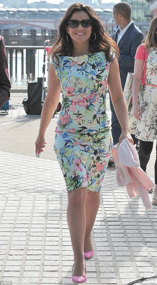 In the pink: Susanna teamed her mint floral dress with pink shoes and a light pink cardigan for the show