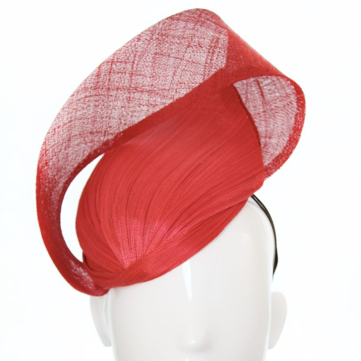 Bonnie Evelyn Millinery » Brenda Hat – Red Jinsin and Sinimay - 2017 - Spring Racing Carnival