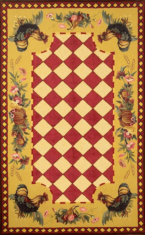 red area rugs | Tuscany Collection Tuscany Rooster Red Yellow Checker Floral Area Rug ...