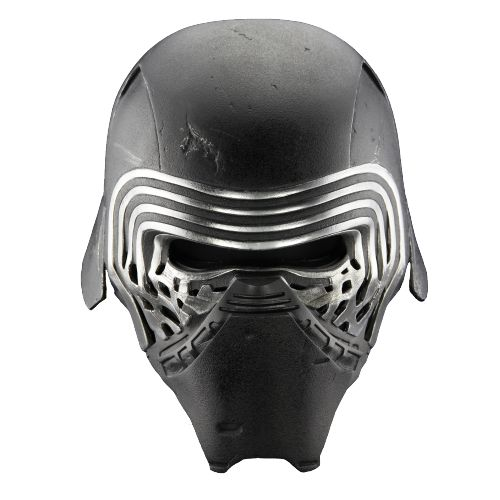 starwarsblognumber1001 Kylo Ren's Helmet: Multiple Views + Transparency  Kylo Ren's battered combat helmet is set in stark contrast to the polished helmet of his idol – Darth Vader. However, Kylo Ren does emulate Darth Vader by other means. Through relative design similarities and a voice synthesizer called a vocabulator, Kylo Ren is able to evoke characteristics permanently imbued with the Sith and the Dark Side of the Force. The un-refinement associated with the entirety of Kylo Ren's…
