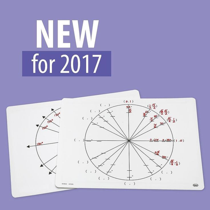 New for 2017: Spotlight on Write-On/Wipe-Off Unit Circle Mats  http://ift.tt/2m28Nkz  A great way for students to practice evaluating trig functions each mat features a unit circle showing all segments on one side and a circle with just xy segments on the other side. Students can fill in radians sin cos tan using dry-erase markers (not included). Mats measure 9 x 12 and are made of tough flexible plastic. #highschoolteacher #mathteacher #didax #teachers #education #pinterest #teachergram