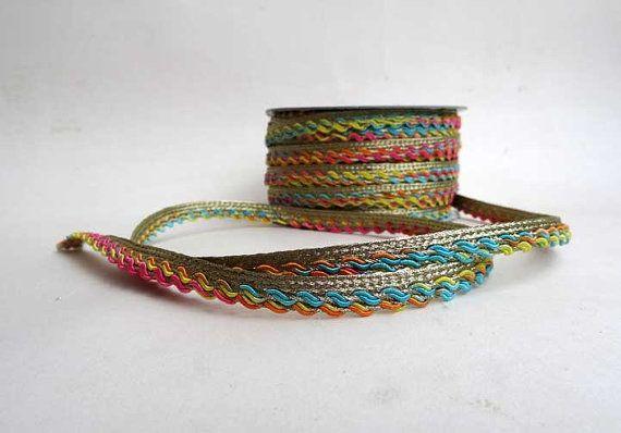 Trim  Indian trim  multicolored trim rainbow by IndianCraftsBazaar
