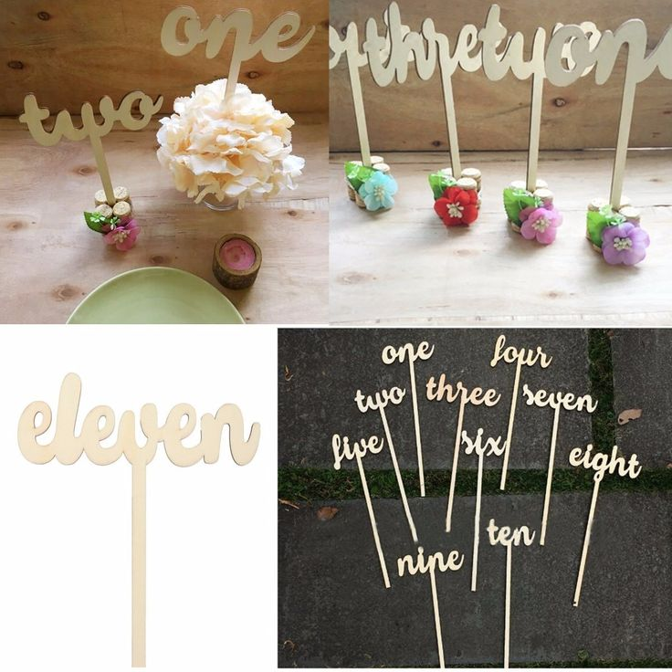 12 Pieces Number One to Twelve Place Wooden Card Wedding Birthday Party Table Decoration Cheap - NewChic