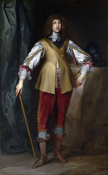 Rupert as a young man visiting his uncle, King Charles I's court in England, by Anthony van Dyck