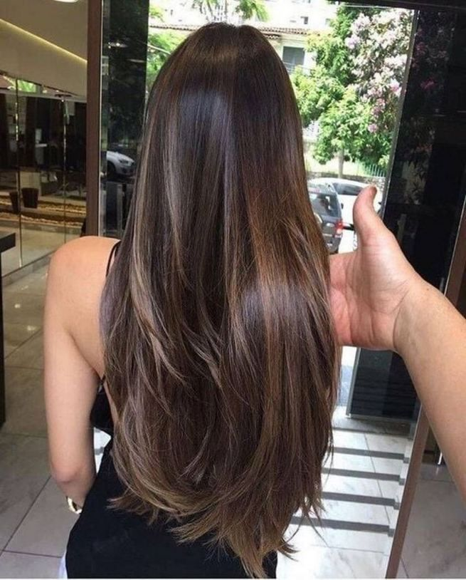 16 Creative Dark Brown Hair Color Highlights Ideas Fashionable Long Brunette Hair Hair Styles Hair Color Asian