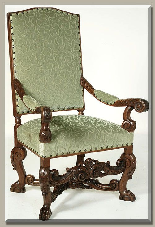 Antique French Louis XIV Walnut Fauteuil  #french #furniture #antique