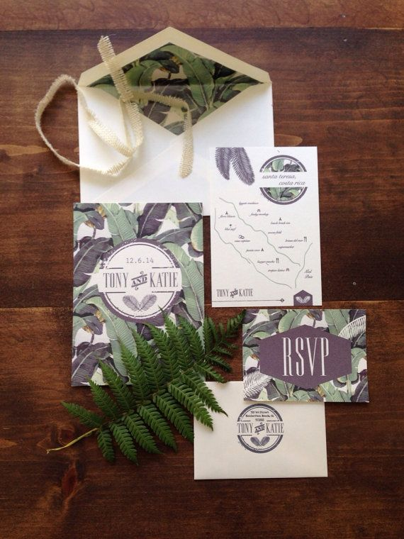 Banana Leaf Wedding Invitation by CentanniDesign