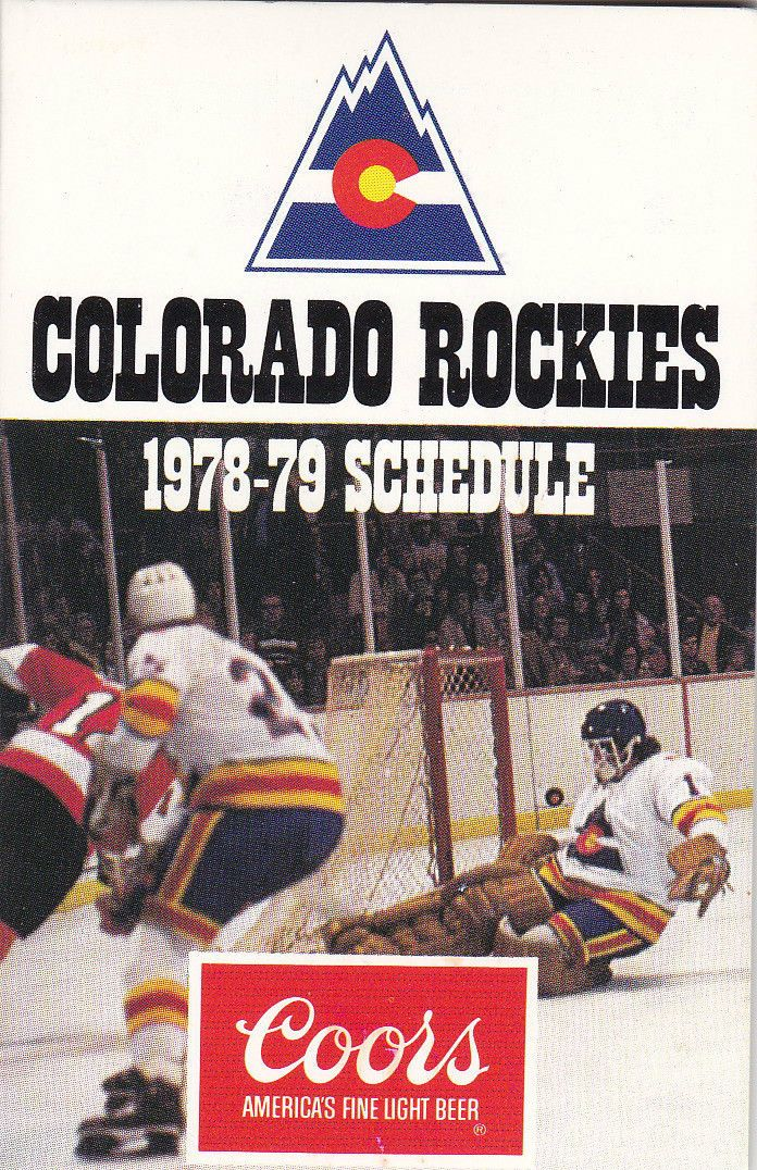 1978-79 Colorado Rockies NHL schedule, brought to you by Coors.