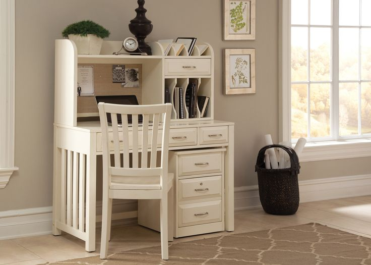 Hampton Bay Writing Desk and Hutch in White by Liberty - Home Gallery Stores