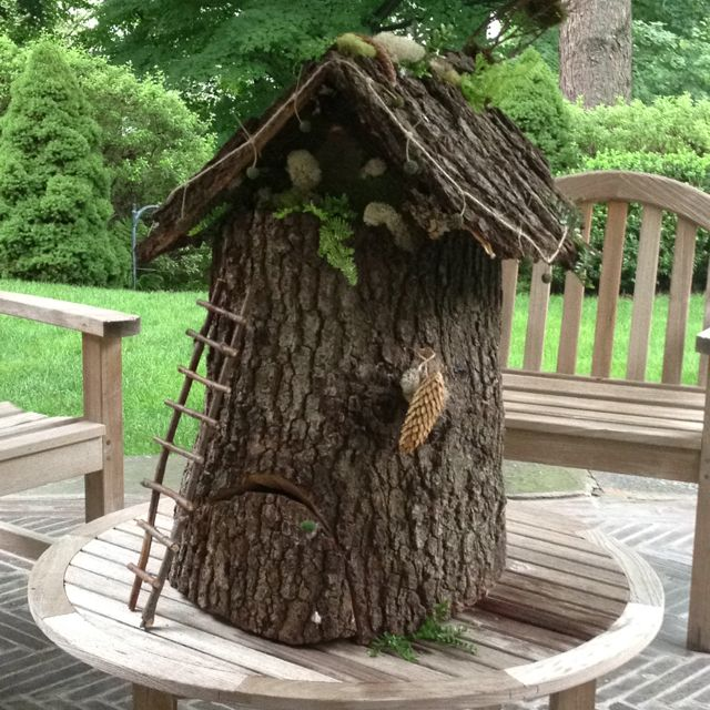 A Very Magical Fairy House Made Out Of A Found Tree Stump