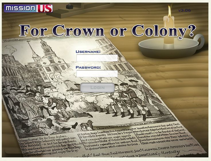 Interactive online game about the American Revolution, from the standpoint of young people