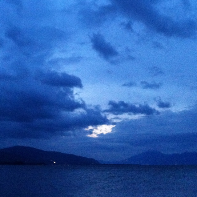 Blue sunset in Aigio city, Greece