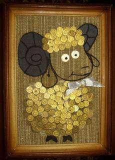 Коллаж из монет Барашек. Размер 34Х24 см.