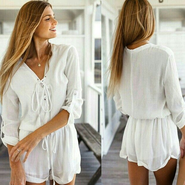 Long Sleeve Playsuit!  The Pure White one ;)   #summer #women #clothes #playsuit #jumpsuit #σορτς #φόρμα #καλοκαίρι #serendipity #serendipitybuys