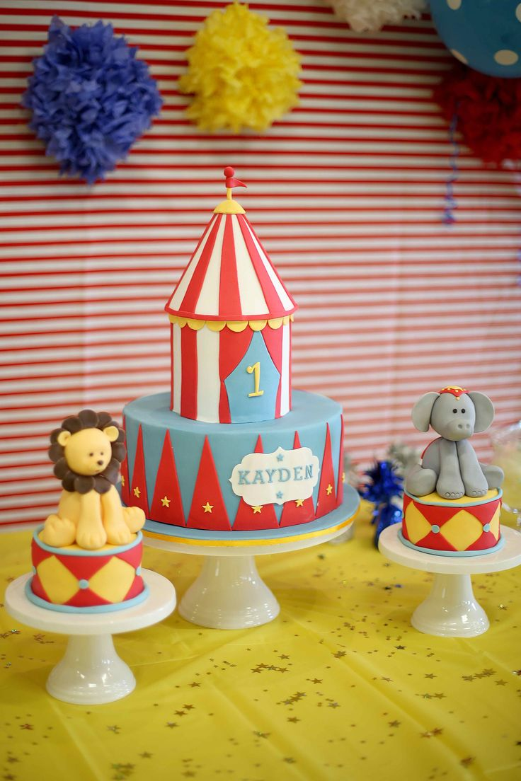 This would be cute a big cake and a small elephant cake and mouse cake from Dumbo.