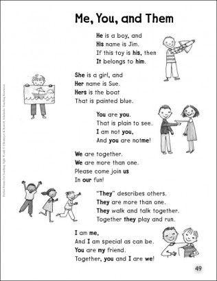 personal pronouns poem - Buscar con Google
