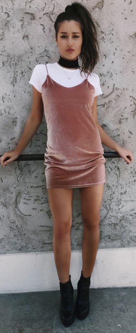 #spring #street #fashion #outfitideas | White Tee + Dusty Pink Velvet Cami Dress | Ilirida