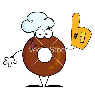 Donut cartoon character number one vector on VectorStock®