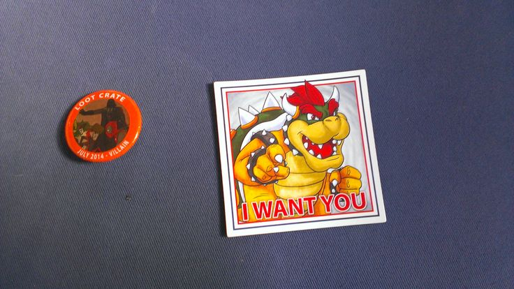 Bowser Magnet and Lootcrate badge from Villain Lootcrate