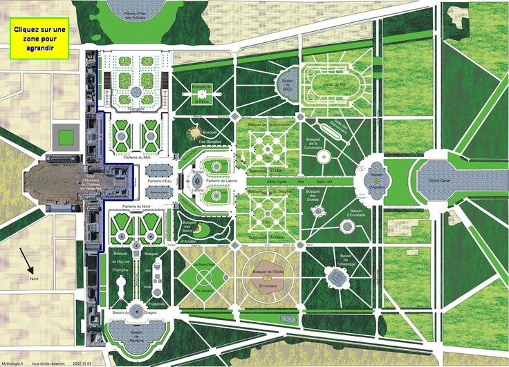 Versailles - Jardin du Château - Plan - mythologie.fr