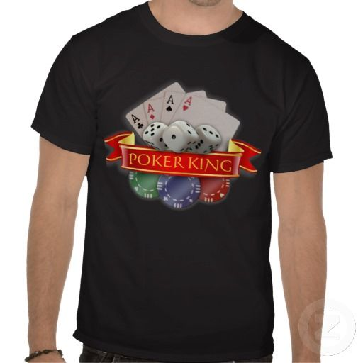 Poker King - Cards, Dices, Chips T Shirt. Personalizable, gambling themed design by Liz Molnar. Great gift for any poker lover. $26.60 #cards #poker #t-shirt