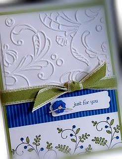 like the embossed top with stamped botttomStampinup, Embossing Paper, Embossing Folder, Cards Ideas, Gift Cards, Sweets Summer, Blue Cards, Paper Crafts, Stampin Up Cards
