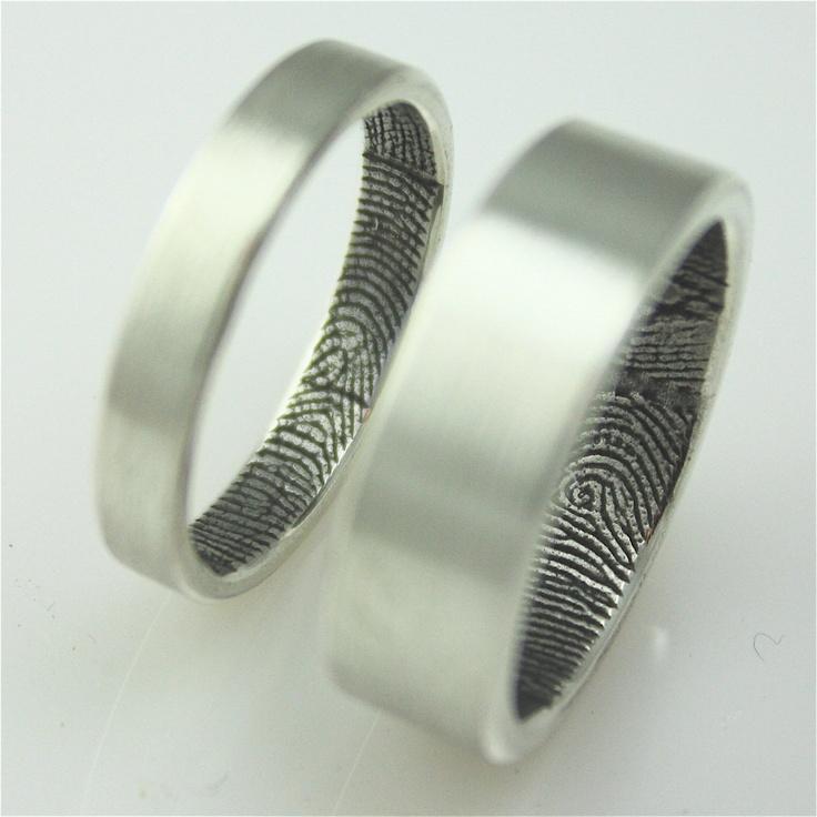 Custom fingerprint wedding bands in sterling silver by fabuluster, $365.00
