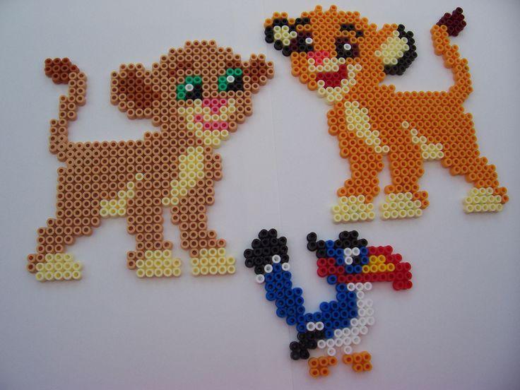 Nala, Simba & Zazu (The Lion King) -- perler beads