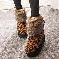 Stövlar ( Svart/Röd/Djurtryck ) - till KVINNOR - Låga stövlar - med Wedge klack - Wedges/Rundtå/Stängd tå/Fashion Boots - i Tyg