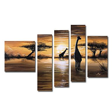 African Grasslands Oil Painting - Set of 5 - Free Shipping