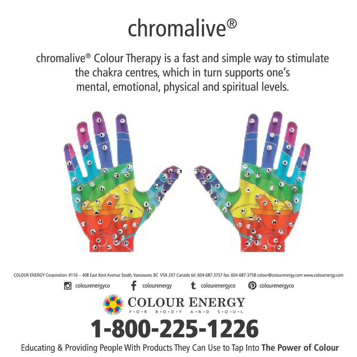 Chromalive Colour Therapy is a fast and simple way to stimulate the chakra centres. Chromalive COLOUR LIGHT THERAPY, 2-DAY WORKSHOP FEB 19-20, 2018 Approved by The Reflexology Association of Canada 5 CEU CREDITS Call 1-800-225-1226 x511 to sign up today #colourenergy