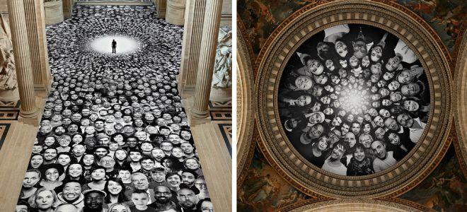 Στο ιστορικό κτίριο Πάνθεον του Παρισιού, ο καλλιτέχνης JR τοποθέτησε χιλιάδες πορτρέτα ανωνύμων ανθρώπων δίπλα σε αυτά των μεγάλων ανδρών και γυναικών της Γαλλίας.