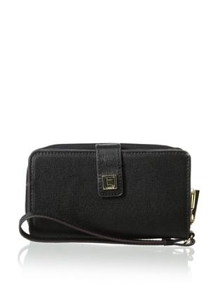 55% OFF LODIS Women's Saffiano Leather Tech Wallet, Black