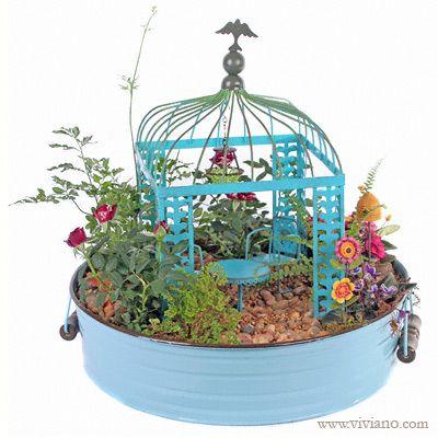 "Summer's Day Fairy Garden - Fairy Gardens Flowers, Plants, Gift Baskets from VIVIANO Flower Shop, Detroit MI Florist.  Miniature ""Gypsy Garden"" pieces by Genevieve Gail for Studio M."