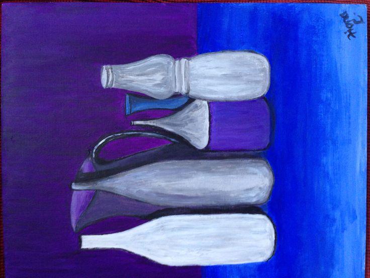 Still life in blue. Acrylic on board. Inspired by Morandi.