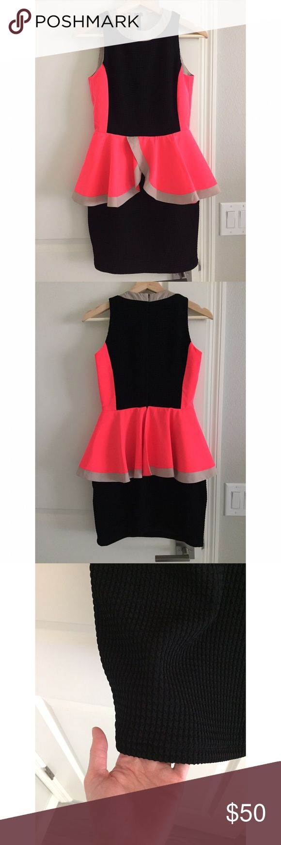 One Of A Kind Peplum Dress, sz. XS Adorable dress, perfect for a girls' night out or date night, handmade by yours truly 🤓 which means this one is one-of-a-kind unique! Hot pink and beige polyester paired up with black structured pique fabric. Hand wash strongly recommended. Never worn except for trying on! Listed as Zara for visibility. Zara Dresses Mini