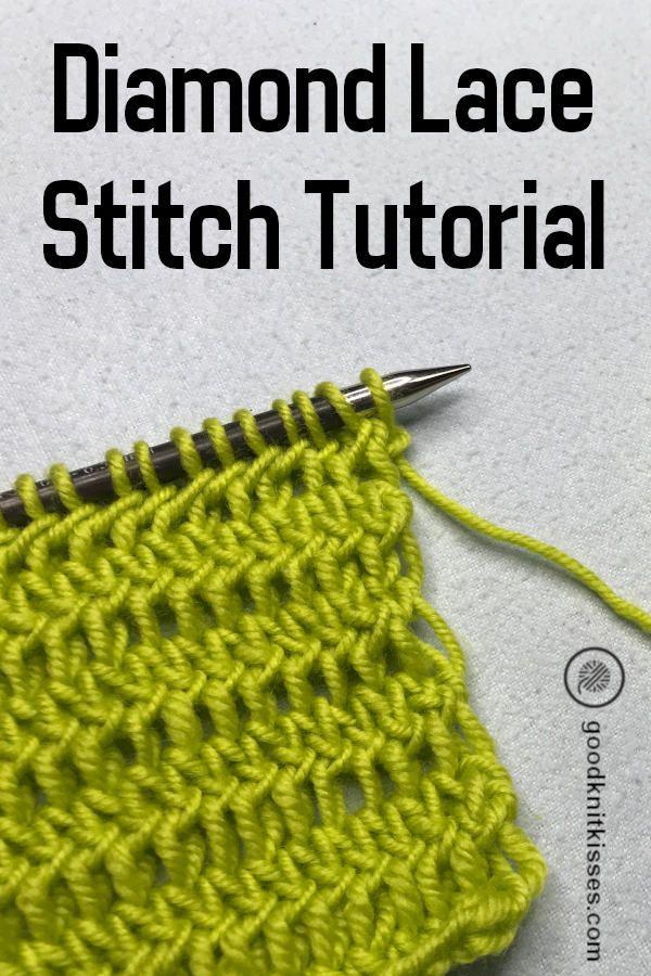 Diamond Lace Stitch Looks Like Crochet But Is Knit On Needles Crochet Stitch Knitting Tutorial