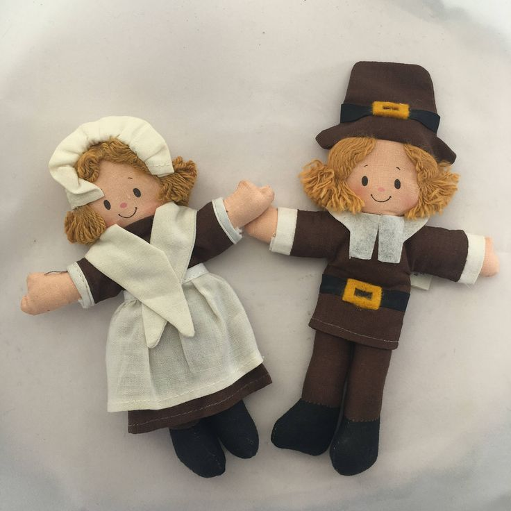 Vintage Hallmark Mr. and Mrs. Pilgrim Cloth Dolls, Thanksgiving Dolls, Thanksgiving Gifts,Children's Cloth Dolls, Collectible Hallmark by BessyBellVintage on Etsy