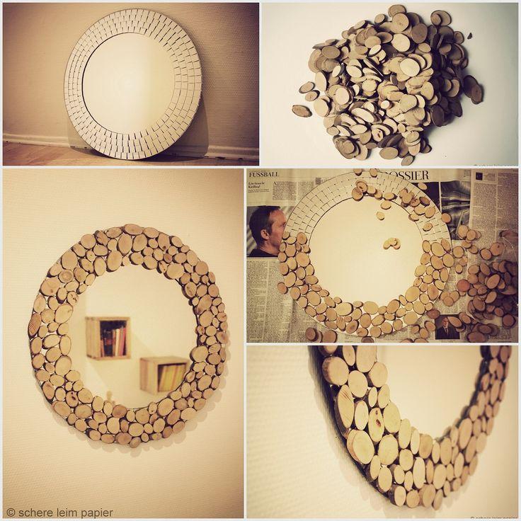 DIY Astscheiben-Spiegel aus kleinen runden Naturhölzern / DIY wooden mirror design