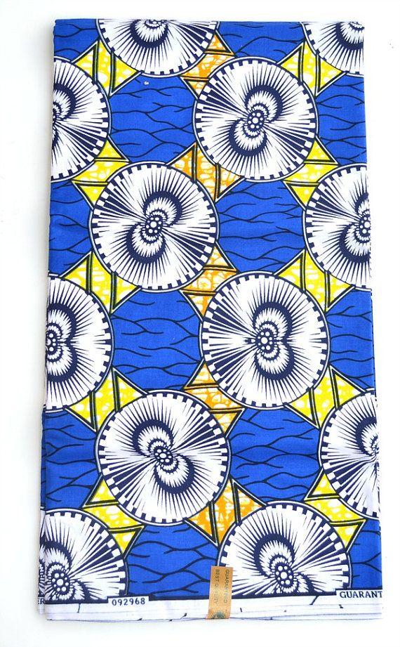 Blue And Yellow  Fabric By The Yard, African Clothing  Fabric For Sale, African Dress Fabric, Fabric Per Yard, African Ankara Print Fabric