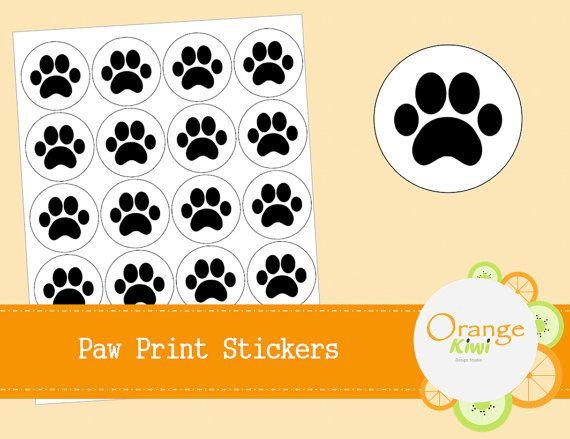 Paw Print Cupcake Toppers  Dog Birthday by OrangeKiwiDesign