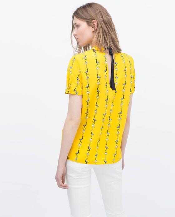 ZARA | Blouse with shirt collar.Flamingo print.Short sleeves.