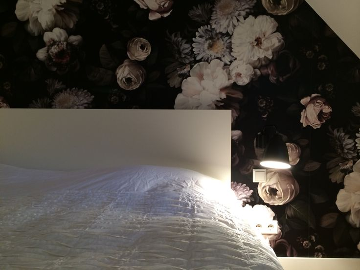 close-up floral wallpaper in bedroom; finishes the complete bedroom!