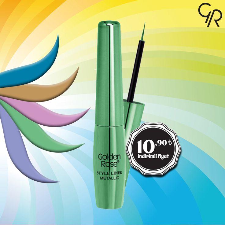 Göz makyajını metalik renklerle tamamlamayı sevenler için 13 muhteşem renk alternatifi ile Style Liner Nisan indiriminde! http://goldenrosestore.com.tr/style-liner-metallic-eyeliner.html
