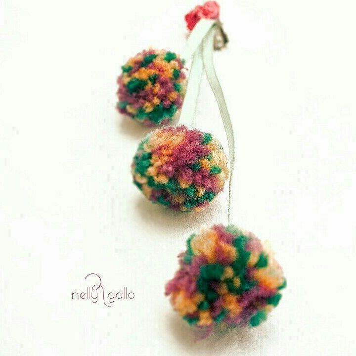 "#handmadejewelry #fabricjewelry #earrings #pompom #clips #ribbons #manycolors#χειροποίητο…"""