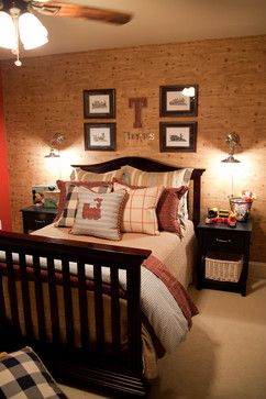 boy's room - like wall behind bed  wall mourned bedside lights