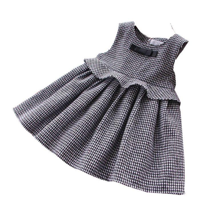 Invierno bebé niña vestidos de fiesta para niñas Plaid vestido para niñas pr…