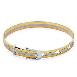 18ct 3 Toned Belt Style Bangle